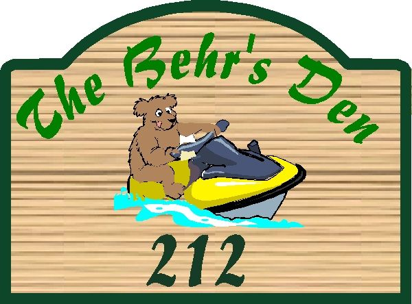 "M22509 - Design for Carved Wood Sign ""The Behr's Den"" with Bear and Speedboat"