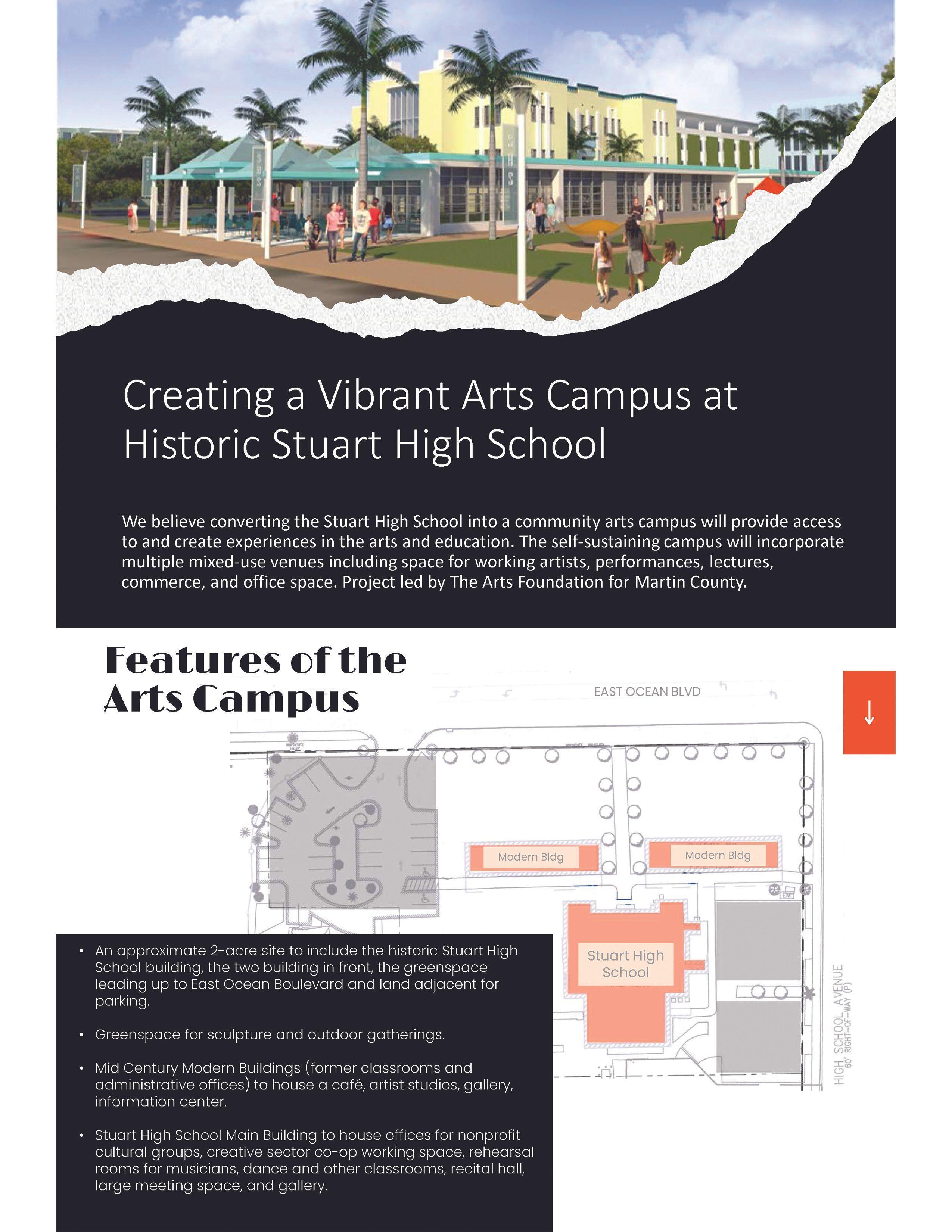 conceptual aerial view of the Stuart High School arts campus