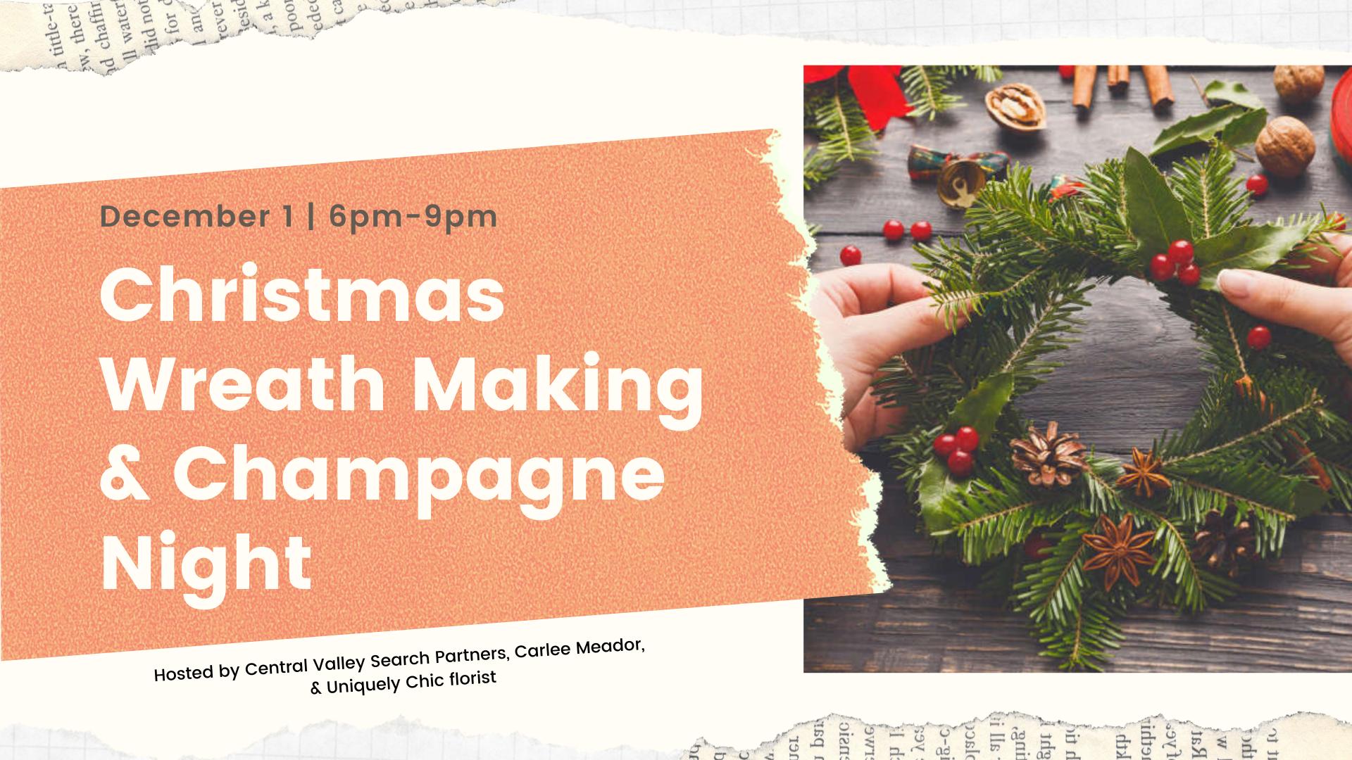 Christmas Wreath Making and Champagne Night