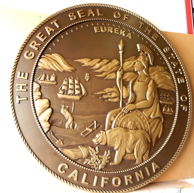 W32032 - Large Round Wall Plaque of the  Seal of the State of California, Bronze-coated Bas Relief