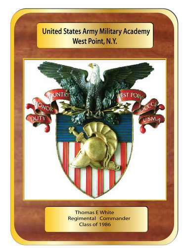 V31845 - Carved Bas Relief Mahogany  Wall Plaque for US Military Academy, West Point
