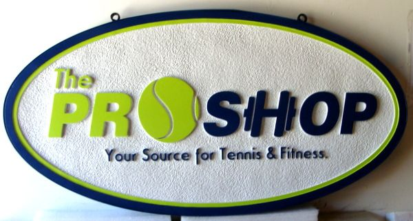 """SA28479 - Carved HDU  Sign for """"Pro Shop -   Source for Tennis and Fitness""""."""