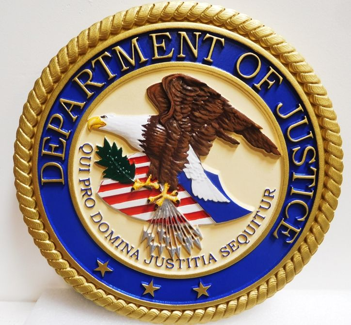 AP-2320 - Carved Plaque of the Seal of the US Department of Justice, 3-D  Artist Painted