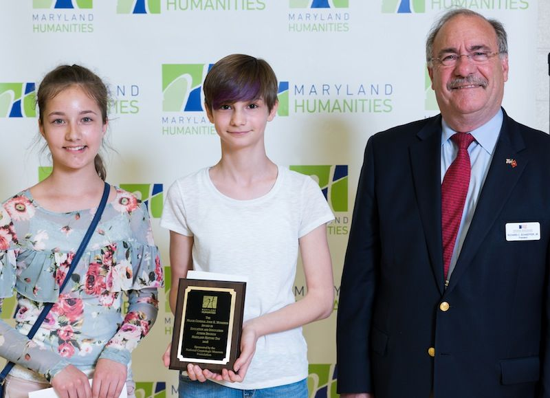 Kaci Grimplin & Paige Rattell, 2018 Junior Division Winners with NCMF President Dick Schaeffer