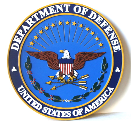 M2073 - Carved Wood Round Wall Plaque of US Department of Defense (DoD) Great Seal