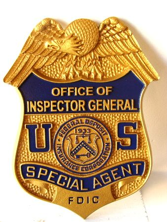 U30782 - Federal Deposit Insurance Corporation ( FDIC)  Inspector General Special Agent Badge Carved HDU Wall Plaque