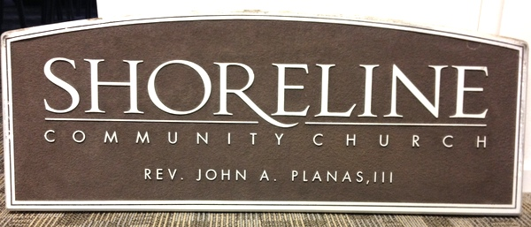 D13109 - Carved and Sandblasted HDU Sign for the Shoreline Community Church