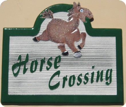 P25508 - Carved, Sandblasted Wood Look HDU Horse Crossing Sign with Cartoon of Horse