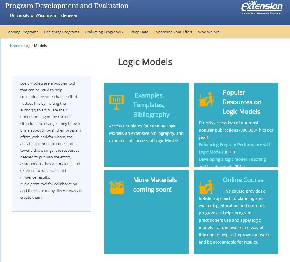 University of Wisconsin Extension – Evaluation Resources