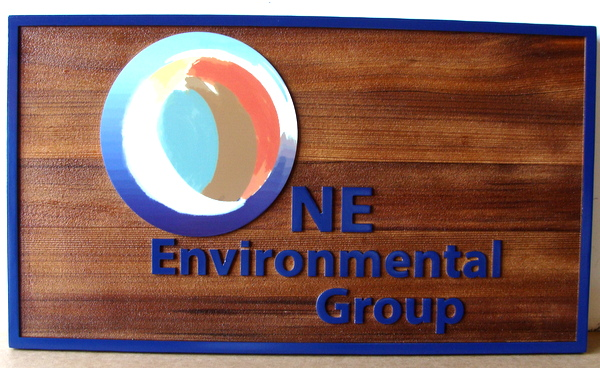 SA28769 - Stained Cedar Wood Plaque with Carved HDU Letters for NE Environmental Group, Stylized