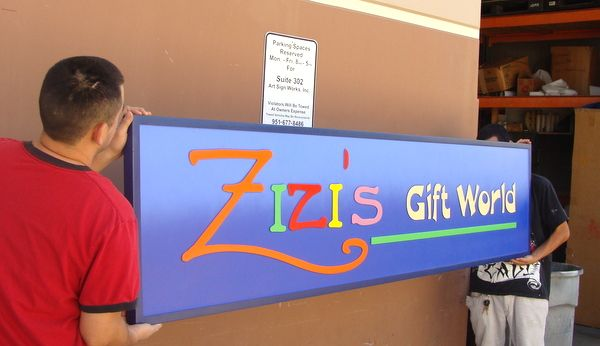 """S28076A - Larger View of Colorful Outdoor Sign for """"Zizi's Gift  World"""" Store"""