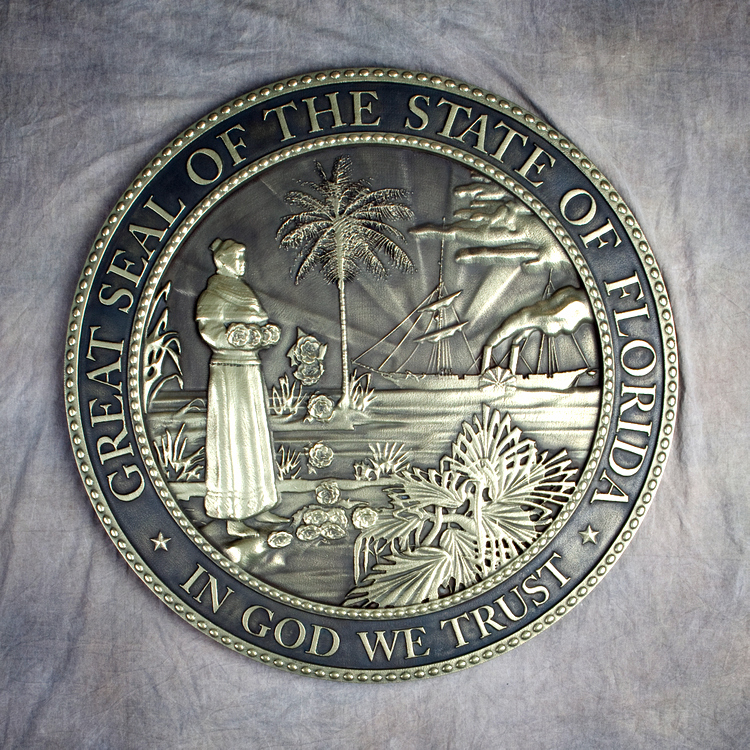 W32113 - Brass-coated 3D Bas-Relief Carved HDU Wall Plaque of the Great Seal of the State of Florida