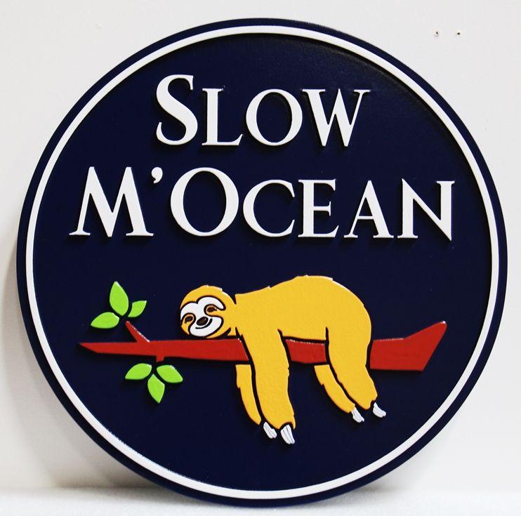 "L21944 –  Carved HDU  Coastal ResidenceSign, ""Slow M'Ocean"" , with Slothon a Tree Limb as Artwork"