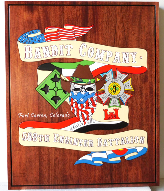 "M3070 - Carved Mahogany Plaque for ""Bandit Company"" ""588th Engineer Battalion"" (Gallery 31)"
