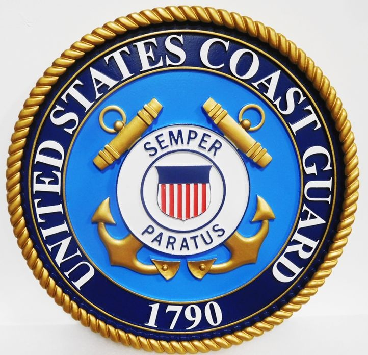 NP-1085 - Carved Plaque of the Great Seal of the US Coast Guard, 3-D Artist-Painted