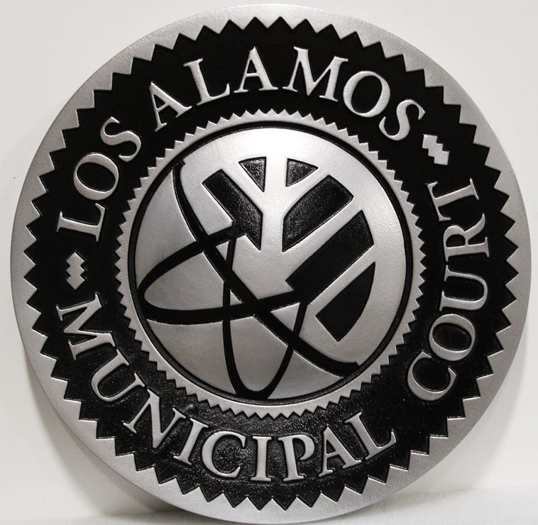 HP-1077 - Carved 2.5-D Aluminum-plated HDU   Plaque of the Seal of the Los Alamos Municipal Court