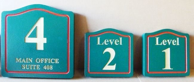 F15532 - Carved, Engraved HDU Signs Giving Numbers for Floor Levels