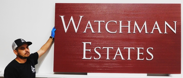 "K20344 - Carved HDU Entrance Sign for  the ""Watchman Estates "" Private Residential Community, with Wood Grain Sandblasted Background"