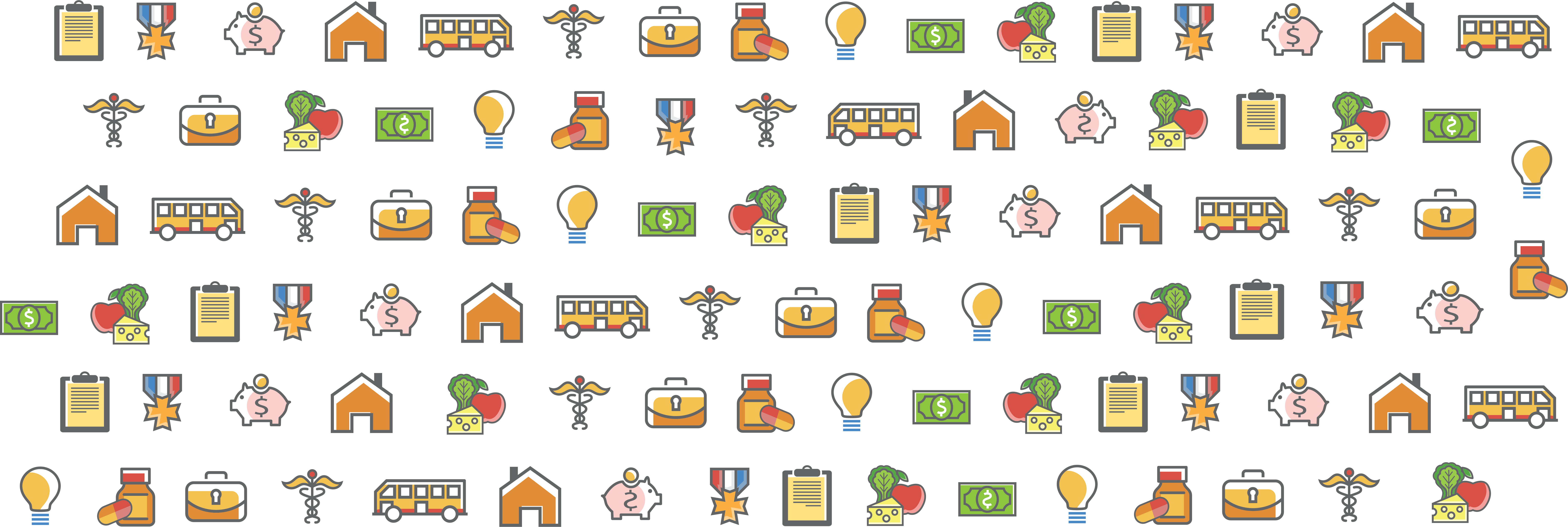 Graphic collage of icons representing benefits