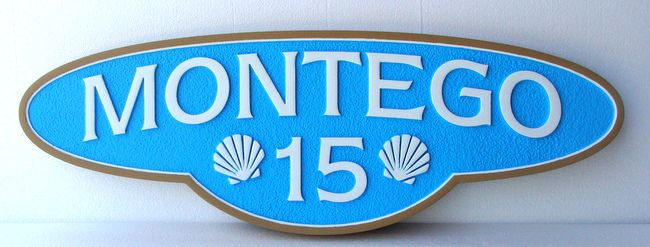 L21538 - HDU Carved and Sandblasted  Street Address Sign, with Two Seashells