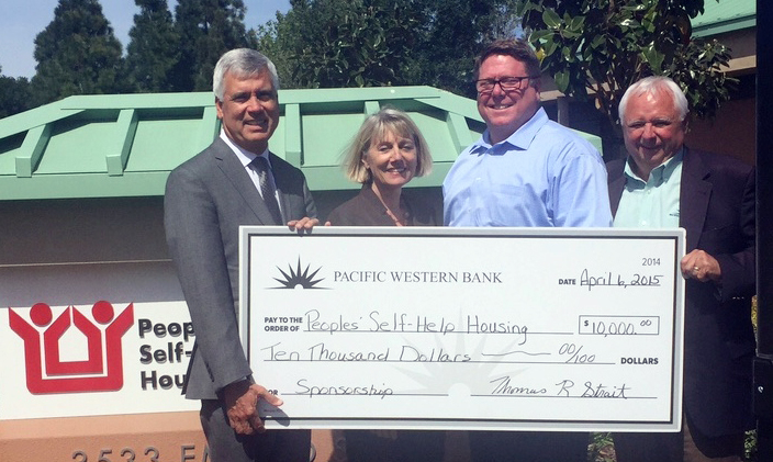 Pacific Western Bank Contributes $10,000 to Peoples' Self-Help Housing for Nonprofit's 45th Anniversary