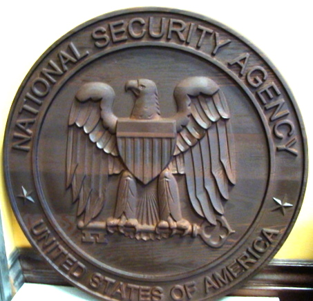 V31144 - National Security Administration (NSA) Seal Carved Wooden Wall Plaque (Dark Stained)