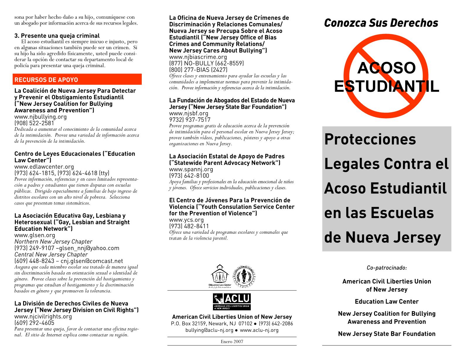 Legal Protections Against Bullying in New Jersey Schools (Spanish) Protecciones Legales Contra el Acoso Estudiantil en las Escuelas de Nueva Jersey