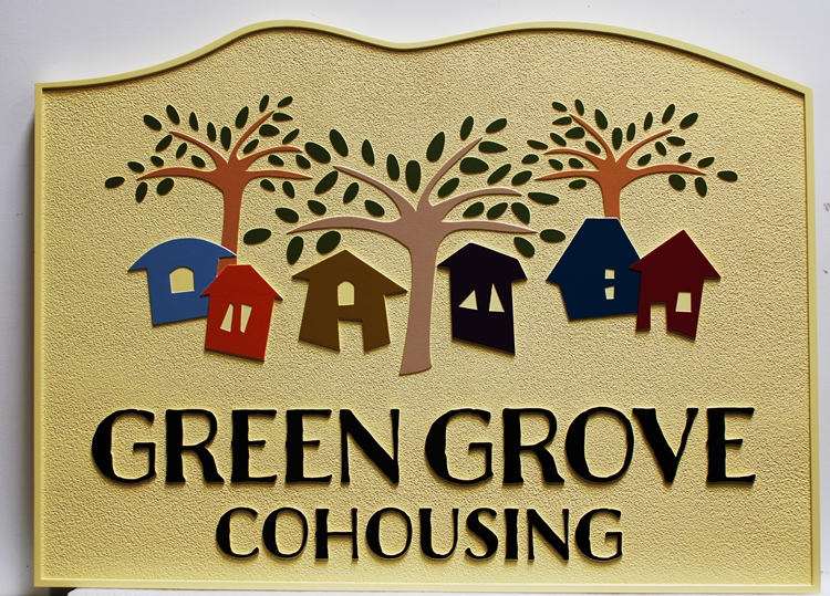 """K20305 - Carved  Entrance Sign for a Residential Community """"Green Grove Cohousing"""". with  Stylized Houses and Trees as Artwork"""