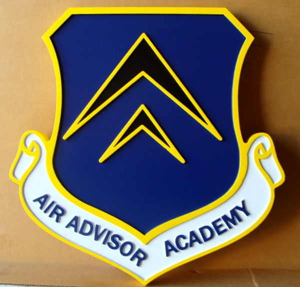 V31544 – Carved 2.5D Wall Plaque of the Shield of the Air Advisor Academy of the US Air Force