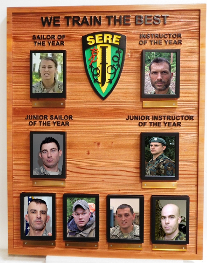 KP-2502 - Carved Cedar Wood  Plaque for Award Photo Plaque for Instructors and Graduates of SERE (Survival, Evasion, Resistance and Escape)  Course