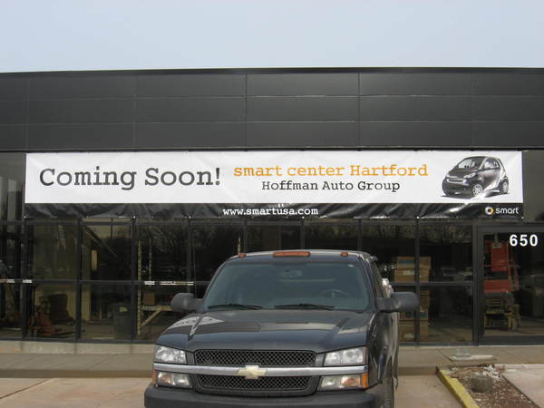 Temporary Custom Vinyl Coming Soon Banner for Auto Dealership