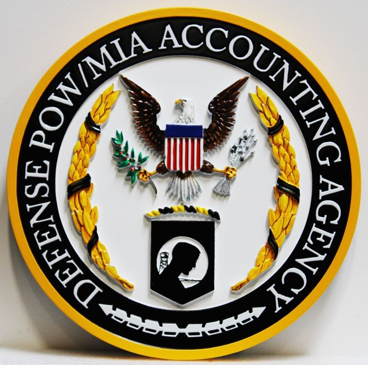 IP-1969 - Carved Plaque of  the Seal of the Defense POW/MIA Accounting Agency, 3-D Artist-Painted