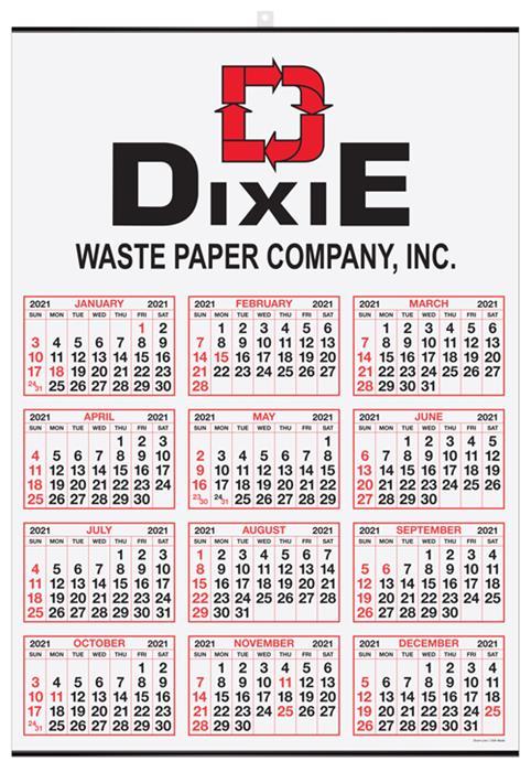 "Year-at-a-Glance Wall Calendar 19.5"" x 27"" -  Top Imprint DL-T928"