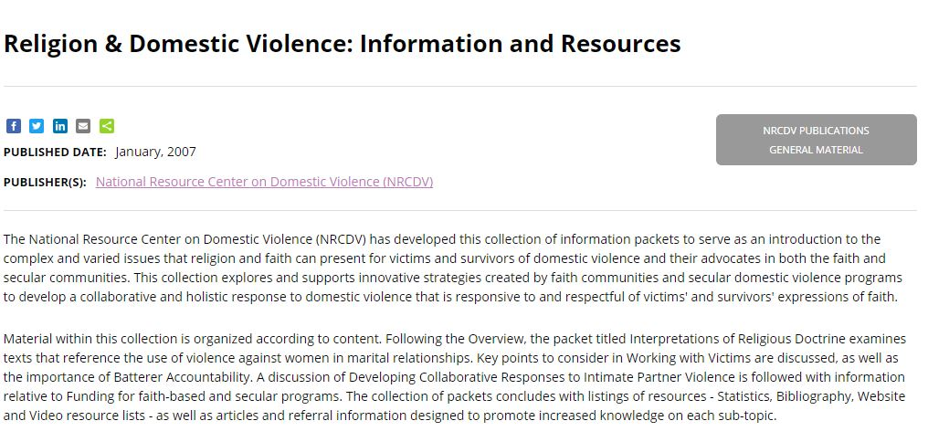Religion & Domestic Violence: Information and Resources from National Resource Center