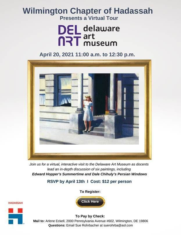 Wilmington chapter of Hadassah Presents a Virtual Tour at the Delaware ART Museum