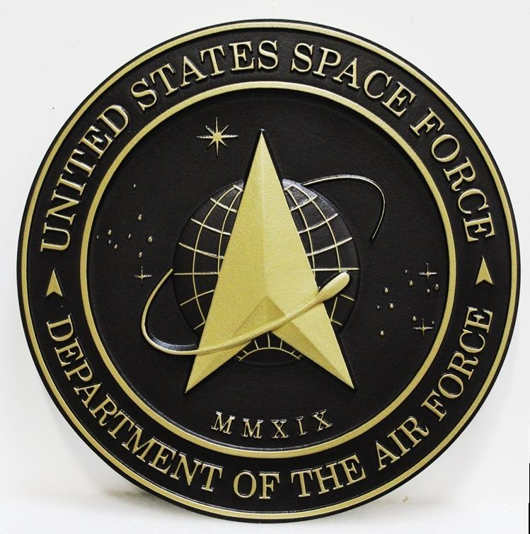 LP-1205 - Carved 3-D Bas-Relief HDU Plaque of the Seal of the US Space Force