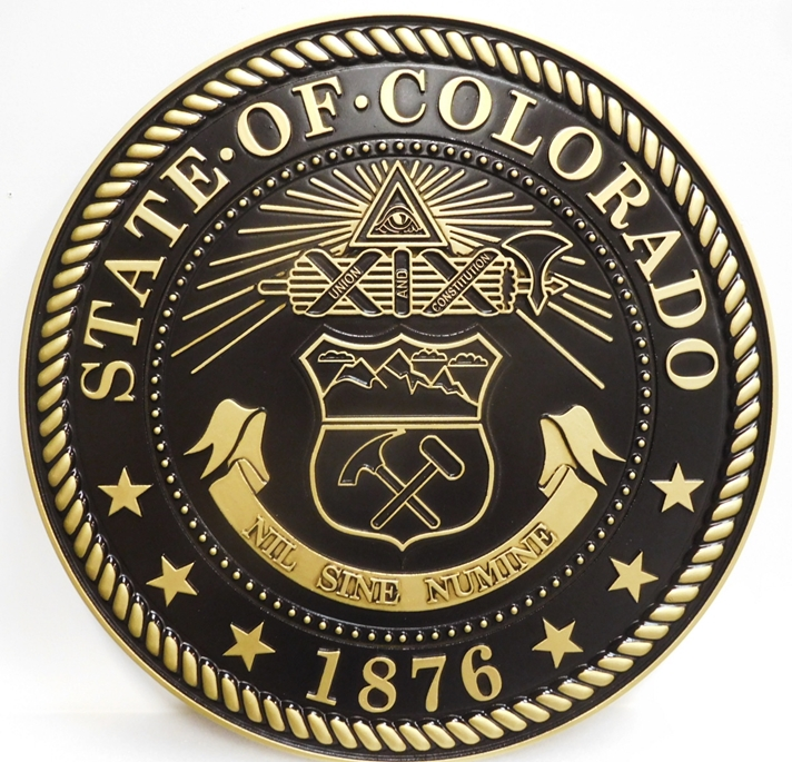 BP-1105 - Carved Plaque of an Emblem of a  State, 2.5-D Outline Relief Brass Plated with Black Background Paint