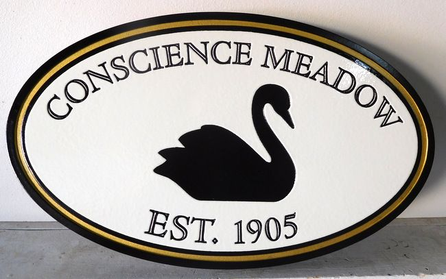 """M22823 - Elegant Engraved Lake House Sign """"Conscience Meadow""""  Featuring a Black Swan Swimming"""
