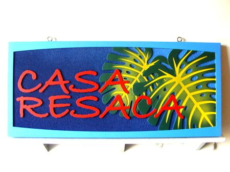 "I18351 - Carved Property Name Sign ""Casa Resaca"" with Philodendrum Leaf"