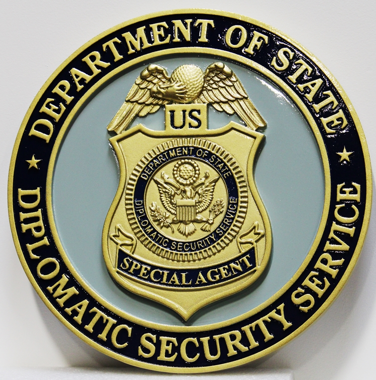 PP-1541 - Carved Plaque of the Badge of a Special Agent,  US Department of State Diplomatic Security Service, 3-D Artist-Painted