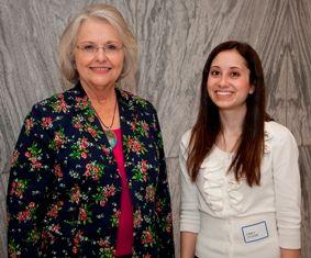 Rep. Mary Sue McClurkin congratulates Emily Cutler