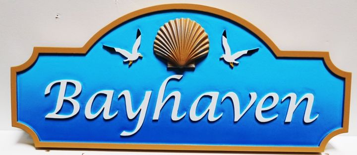 """L21542 - Design for Name Sign """"Bayhaven""""  with 3D Carved Shell and Seagulls"""