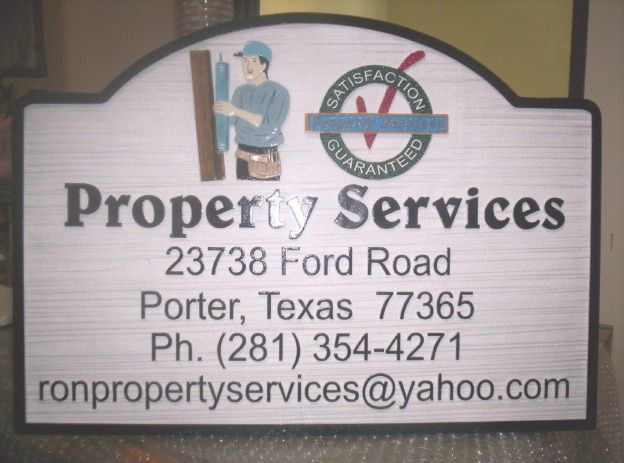 SA28576 - Carved Sign for Property Maintenance Services, with Workman as Artwork