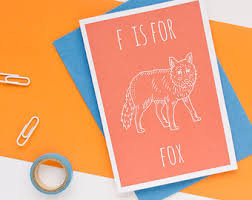 F is for Fox Greeting Card with Envelope by Darwin Designs