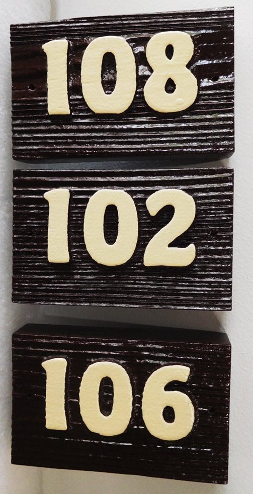 KA20899- Carved Cedar Wood Apartment Unit  Number Signs, Sandblasted to Show Wood Grain for a Rustic Look