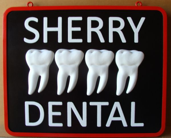 BA11557 - Dental Office Sign with Carved  3D Molar Teeth