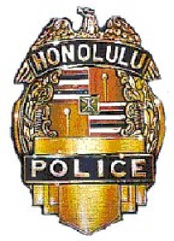 X33632 - Carved Wood Wall Plaque of Police Shield Badge for the City of Honolulu, Hawaii