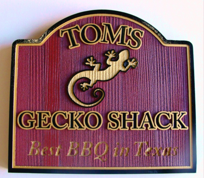 "Q25040 - Carved Wood Look HDU Sign for Restaurant ""Gecko Shack Best BBQ in Texas,""  with Engraved Silhouette of Gecko"