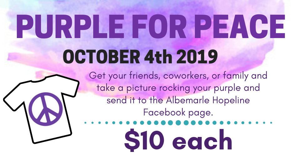Albemarle Hopeline : Purple for Peace 2019 : Purple for