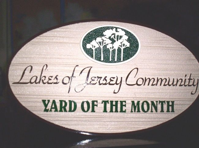 KA20901 - Lakes of Jersey Community Yard of Month Sign with Tree Grove